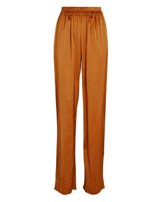 Chinu Satin Wide-Leg Pants, ORANGE, hi-res