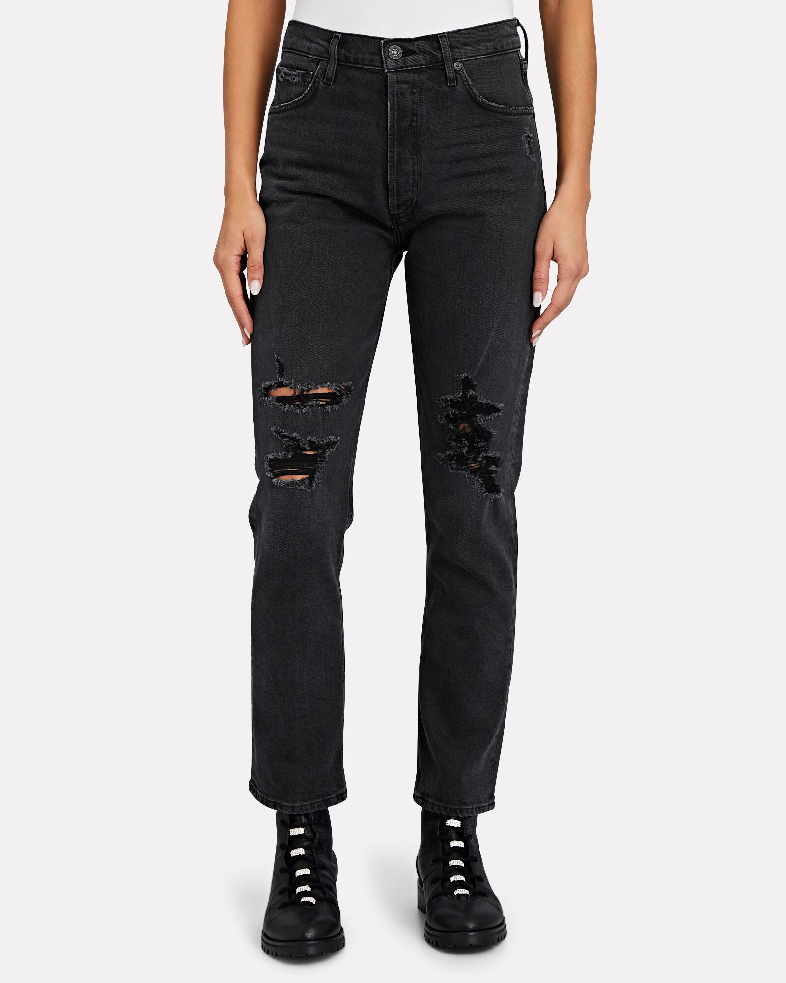Charlotte Distressed Straight-Leg Jeans, HAPPY HOUR, hi-res