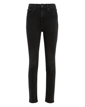 High-Rise Distressed Skinny Ankle Jeans, BLACK, hi-res