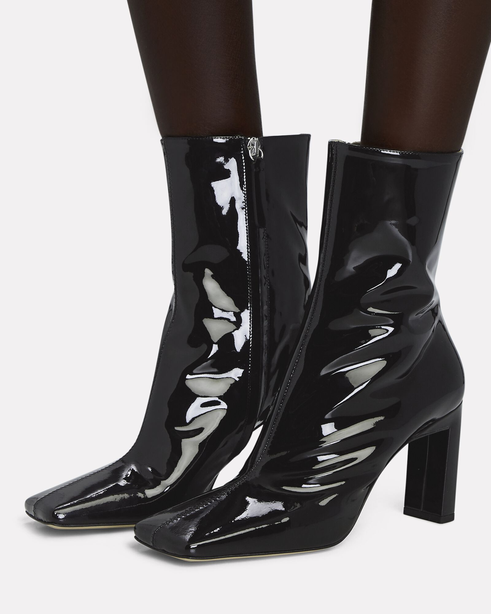 Isa Patent Leather Ankle Boots, BLACK, hi-res