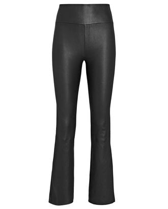 Ankle Flare Leather Leggings, BLK/WHT, hi-res