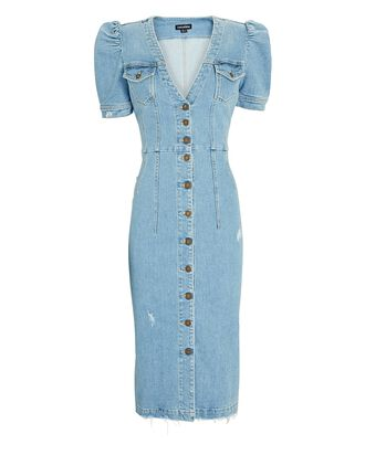 Annie Puff Sleeve Denim Dress, LIGHT LAGUNA, hi-res