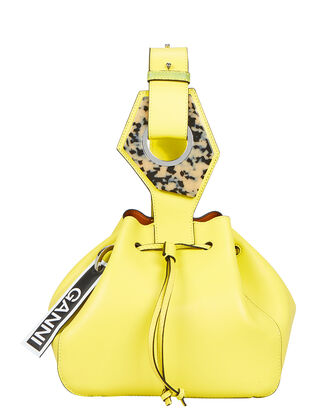 Bright Yellow Leather Bucket Clutch, BRIGHT YELLOW LEATHER, hi-res