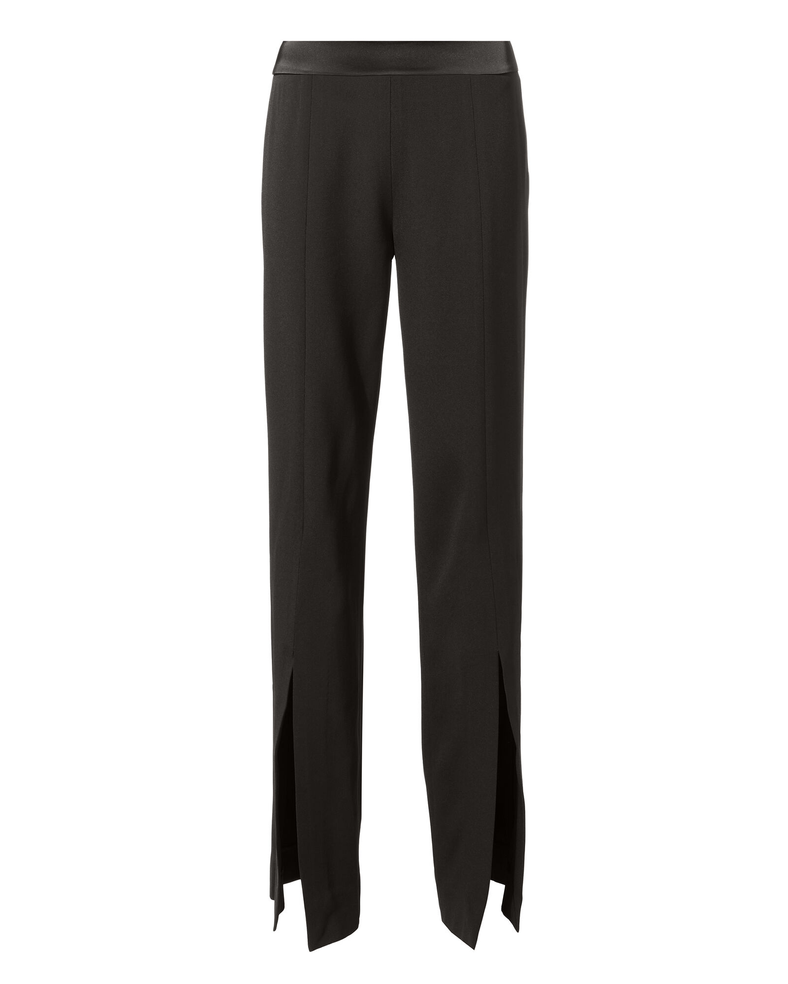 Satin Front Slit Pants, BLACK, hi-res