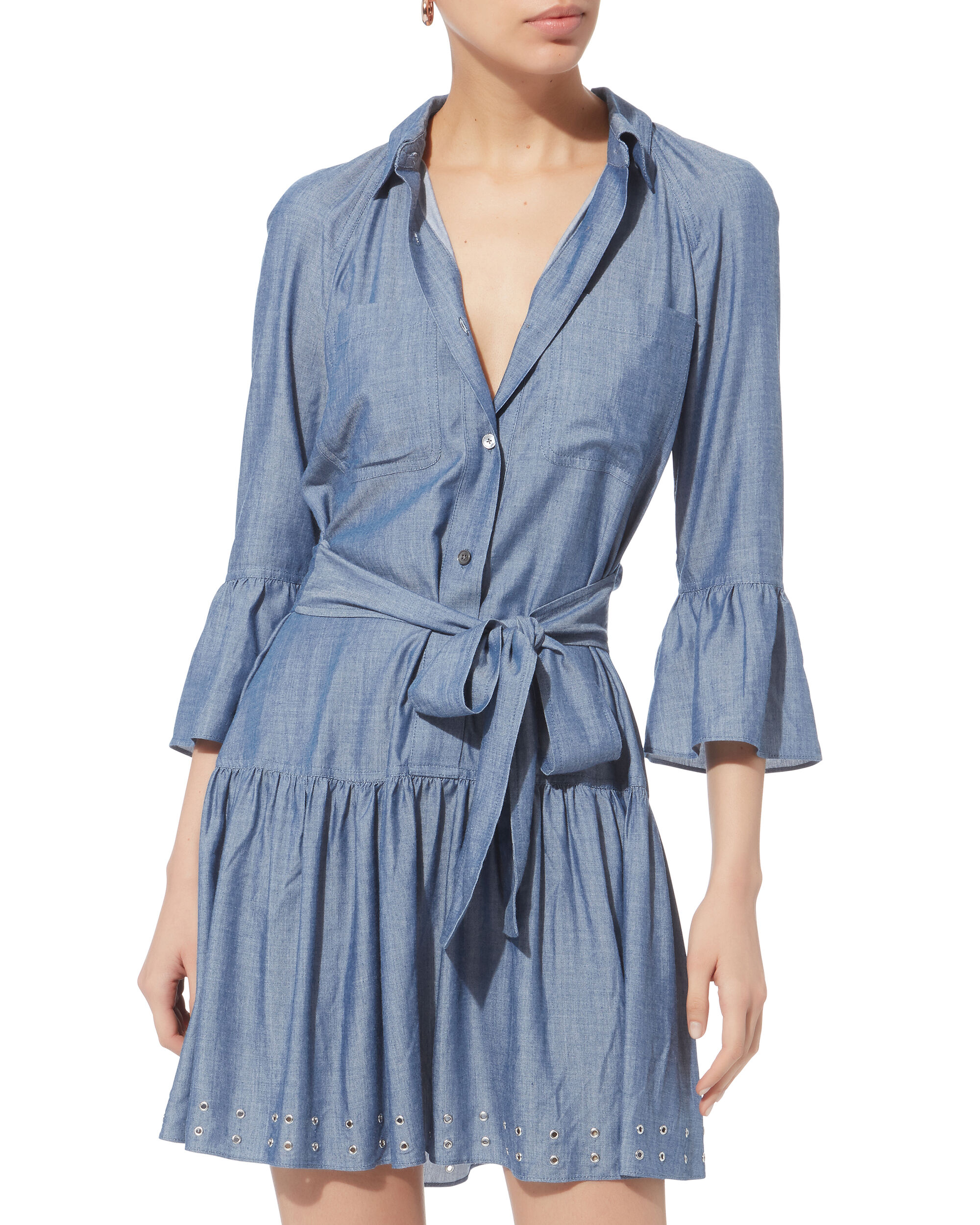 Grommet Denim Dress, BLUE-MED, hi-res