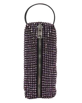 Rhinestone Pencil Case Pochette, PURPLE, hi-res
