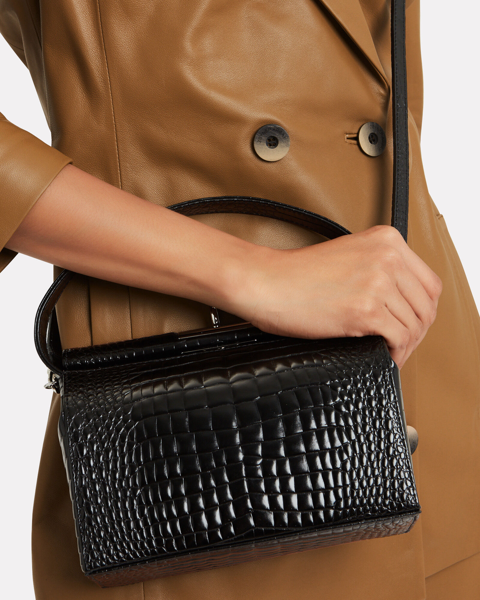 Milky Croc-Embossed Shoulder Bag, BLACK, hi-res