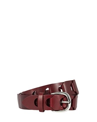 Zak Braided Leather Belt, RED-DRK, hi-res