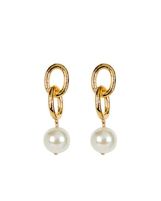 Double Link Pearl Earrings, GOLD, hi-res