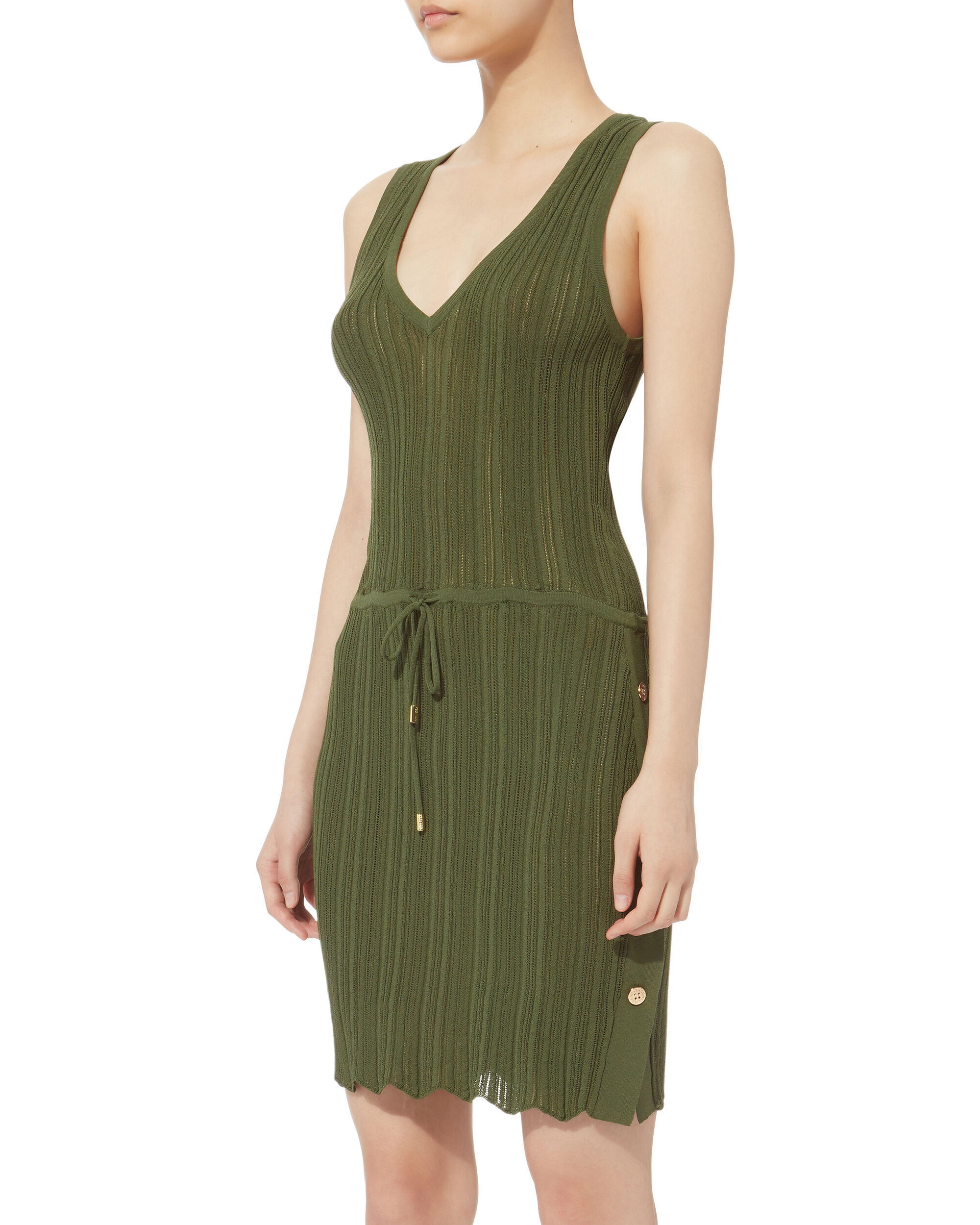 Arianna V-Neck Mini Dress, GREEN, hi-res