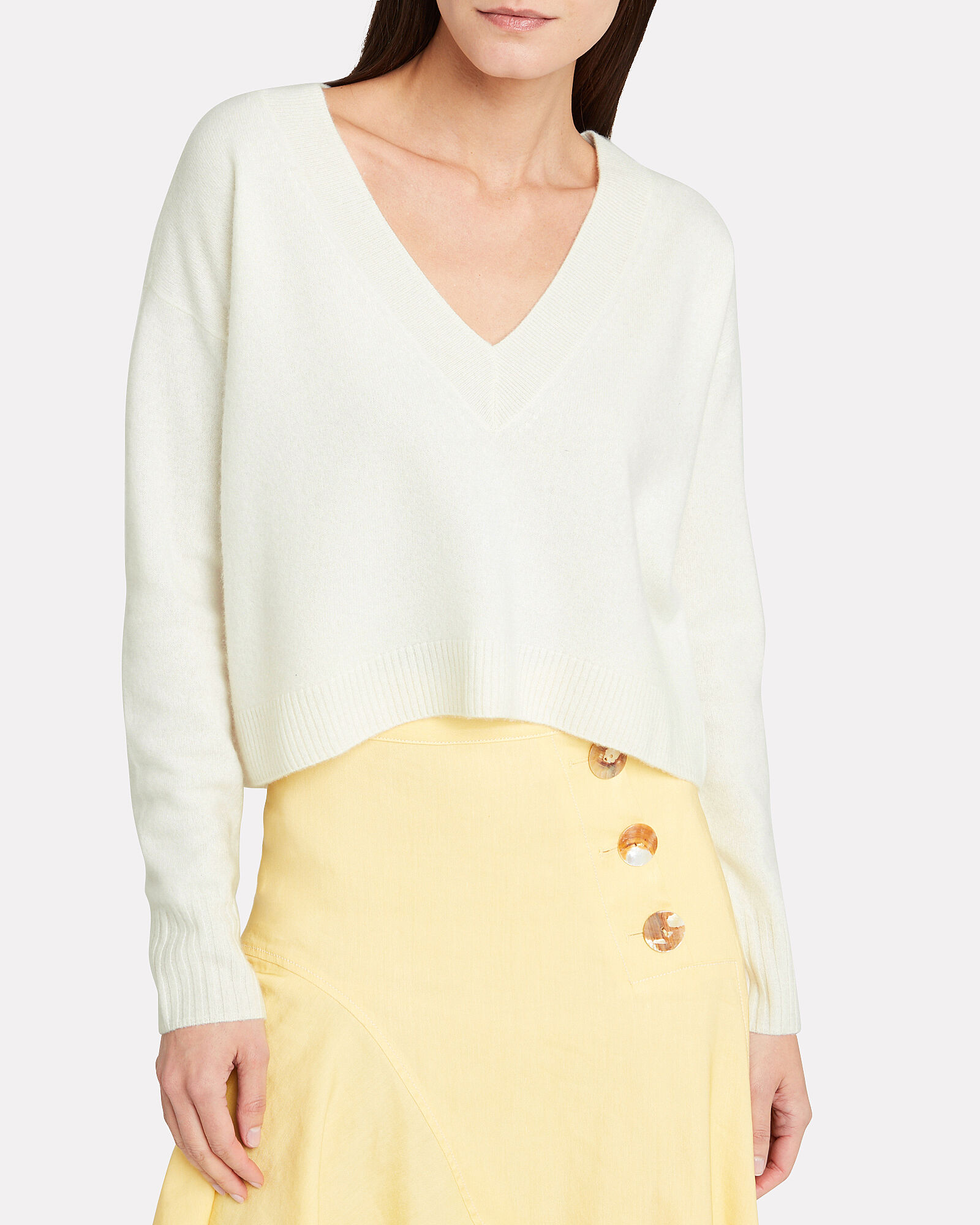 Elroy V-Neck Cashmere Sweater, IVORY, hi-res