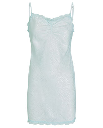 Lace-Trimmed Leopard Jacquard Slip Dress, LIGHT BLUE, hi-res