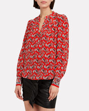 Abbie Paisley Silk Blouse, RED/PAISLEY, hi-res
