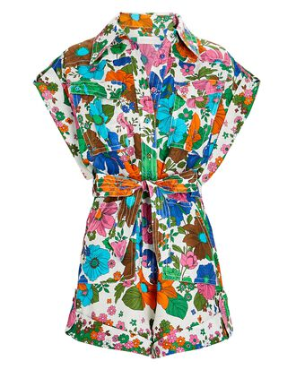 Riders Floral Linen Playsuit, MULTI, hi-res