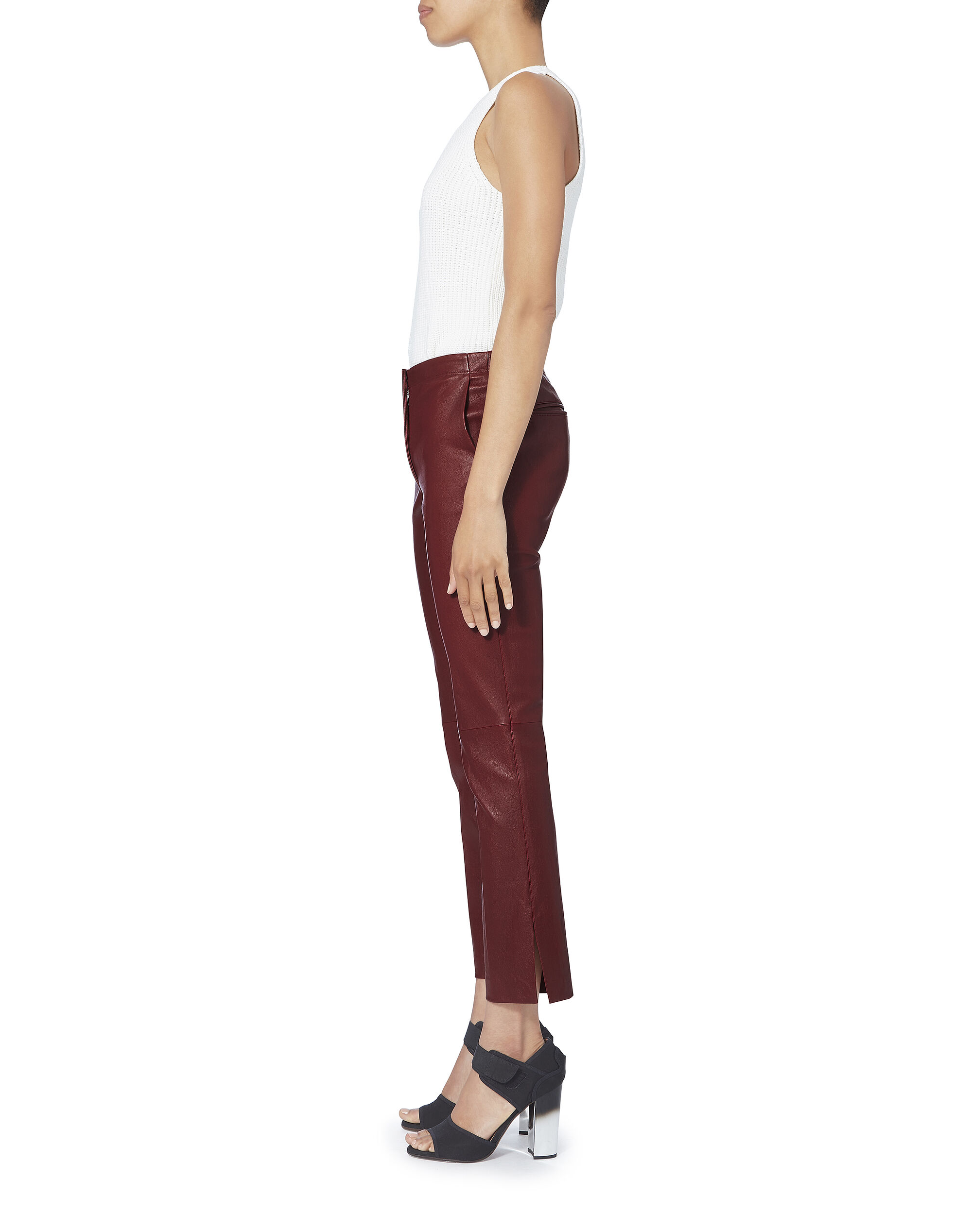 Red Leather Ankle Pants, RED, hi-res