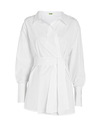Casablanca Poplin Wrap Shirt, WHITE, hi-res