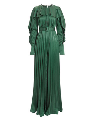 Emerald Green Pleated Frill Jumpsuit, GREEN, hi-res