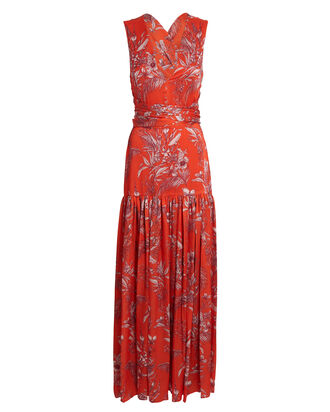 Belaya Floral Maxi Wrap Dress, RED/IVORY, hi-res