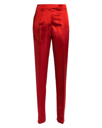 High-Rise Satin Straight Leg Trousers, RUBY, hi-res