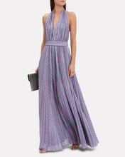 Lurex Striped Halter Gown, MULTI, hi-res
