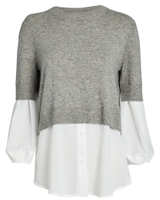 Ebella Layered Crewneck Sweater, GREY/WHITE, hi-res