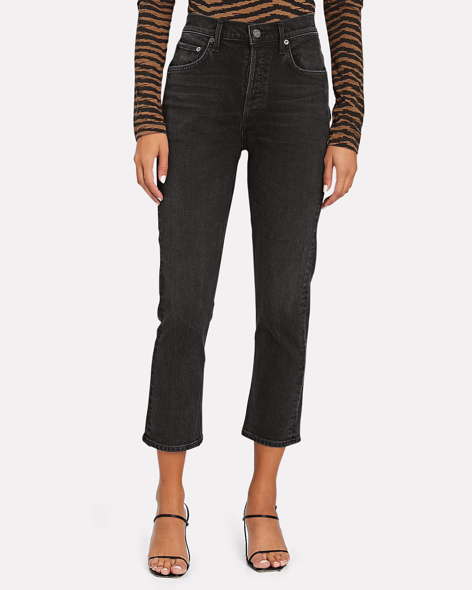 Riley High-Rise Straight Cropped Jeans, BLACK, hi-res