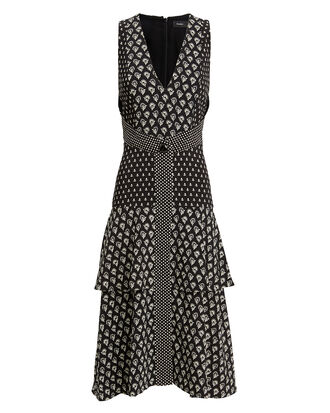 Printed V-Neck Midi Dress, BLK/WHT, hi-res