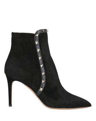 Rockstud Suede Booties, BLACK, hi-res