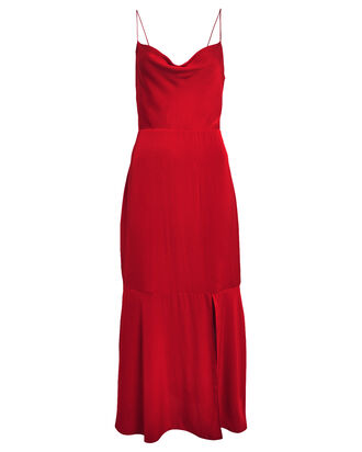 Paris Silk Slip Dress, RUBY, hi-res