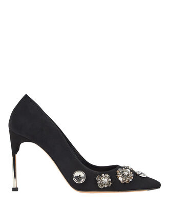 Crystal & Button Suede Pumps, BLACK, hi-res