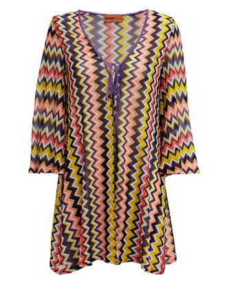 Chevron Short Cover-Up, PURPLE/YELLOW/ORANGE, hi-res