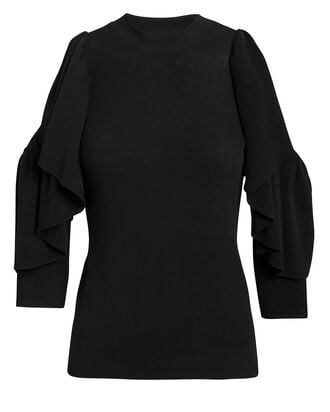 Open Shoulder Knit Top, BLACK, hi-res