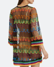 Short Kaftan Cover-Up, BLACK/RAINBOW, hi-res