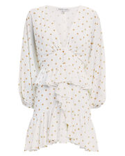 Plunge Polka Dot Ruffle Mini Dress, WHITE/YELLOW, hi-res
