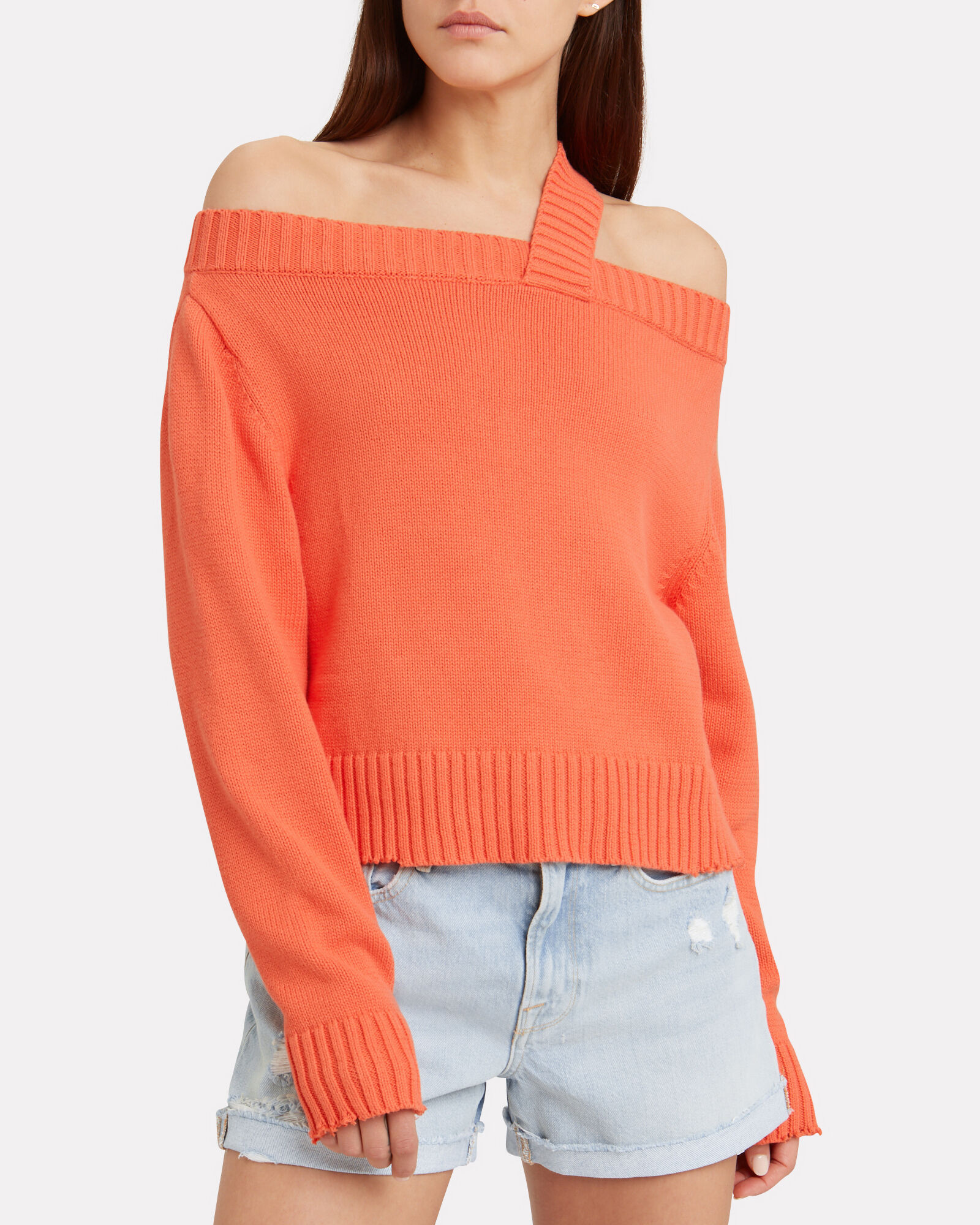 Beckett Knit Cotton Sweater, CORAL, hi-res