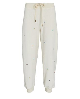 The Cropped Embroidered Fleece Joggers, WHITE, hi-res