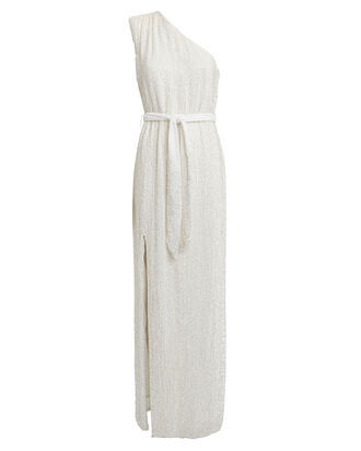 Vivien One-Shoulder Sequin Gown, WHITE, hi-res