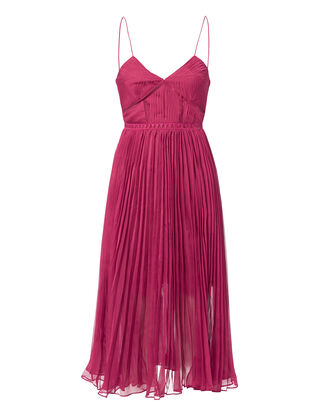 Pleated Midi Dress, PINK-DRK, hi-res