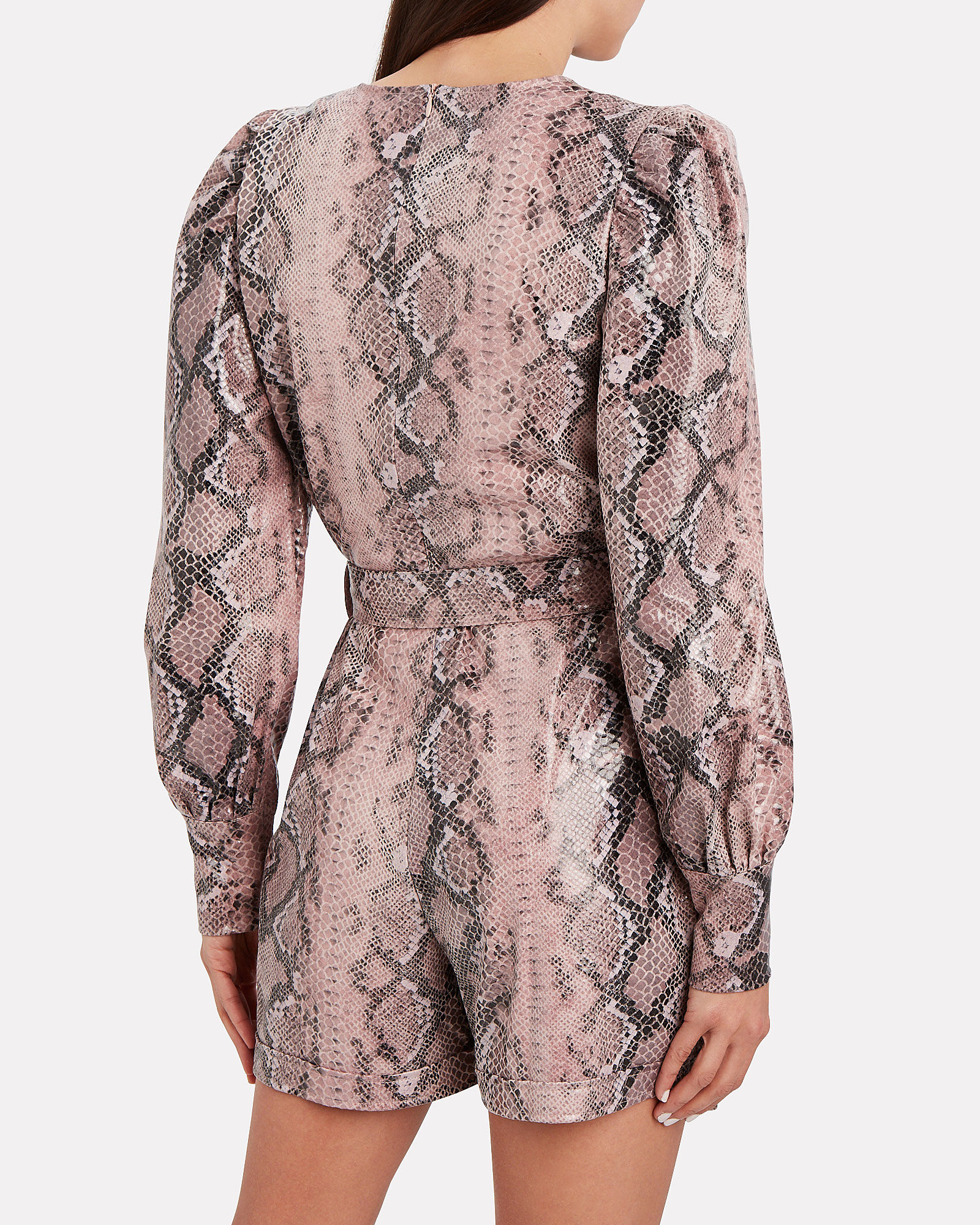 Python-Embossed Faux Leather Romper, PINK, hi-res