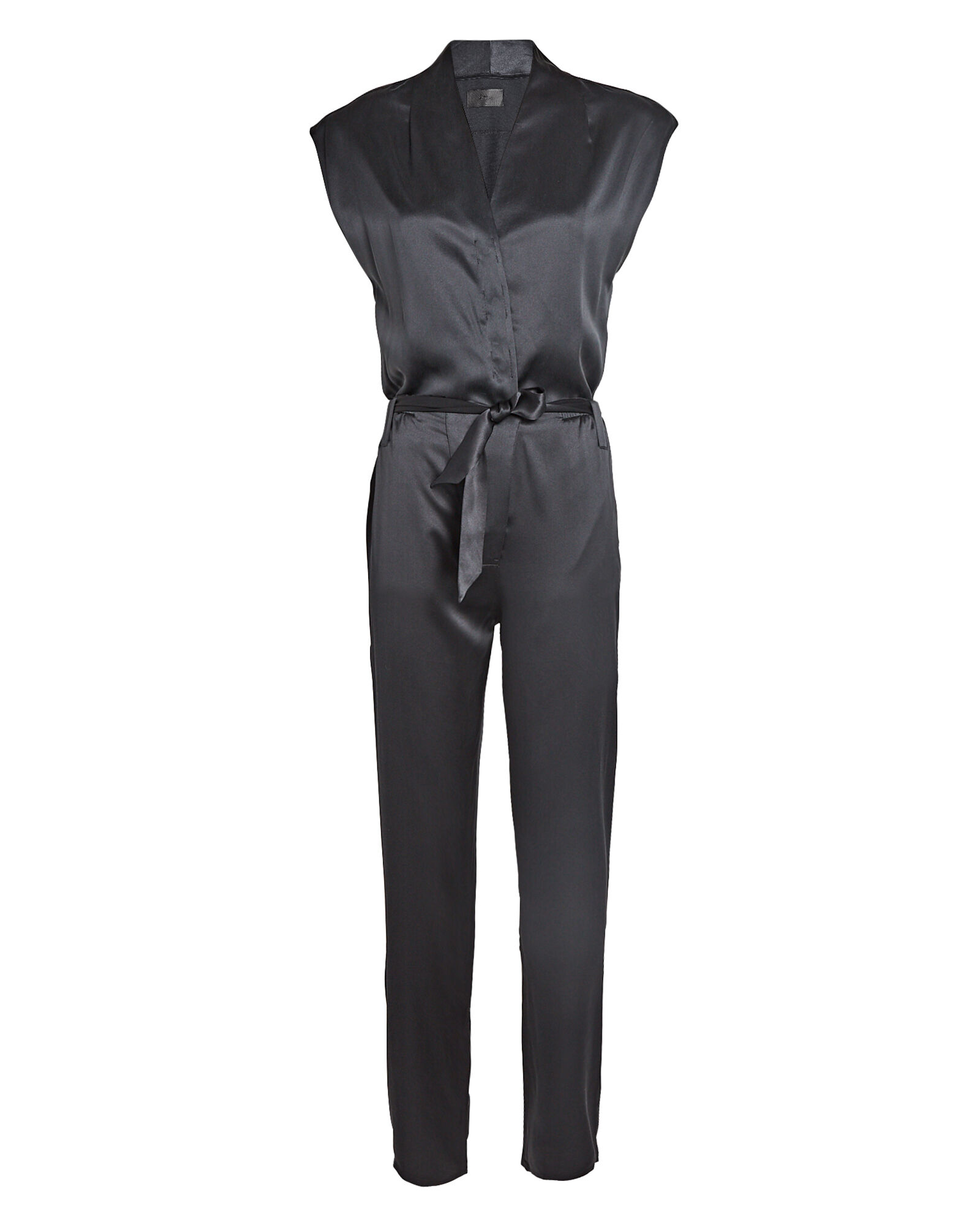 Cynthia Silk Charmeuse Wide-Leg Jumpsuit, BLACK, hi-res