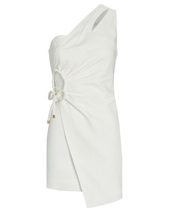 Flores One-Shoulder Wrap Dress, IVORY, hi-res