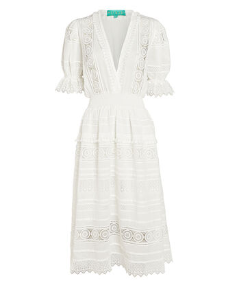 Lumiere Lace Midi Dress, WHITE, hi-res