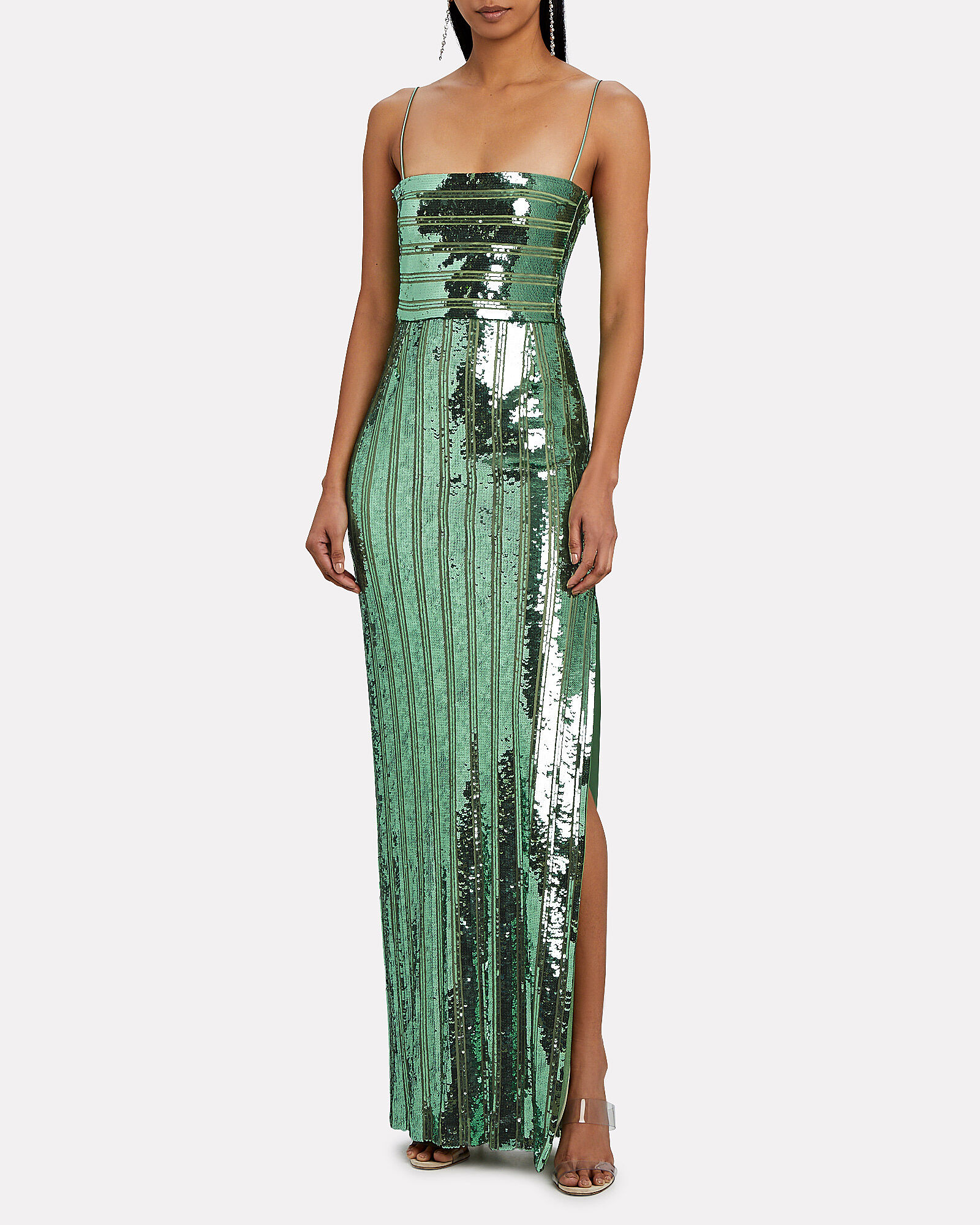 Stargaze Sequined Sleeveless Gown, GREEN, hi-res