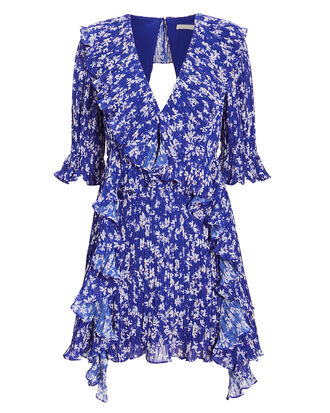 Mediterranean Minx Mini Dress, BLUE/FLORAL, hi-res