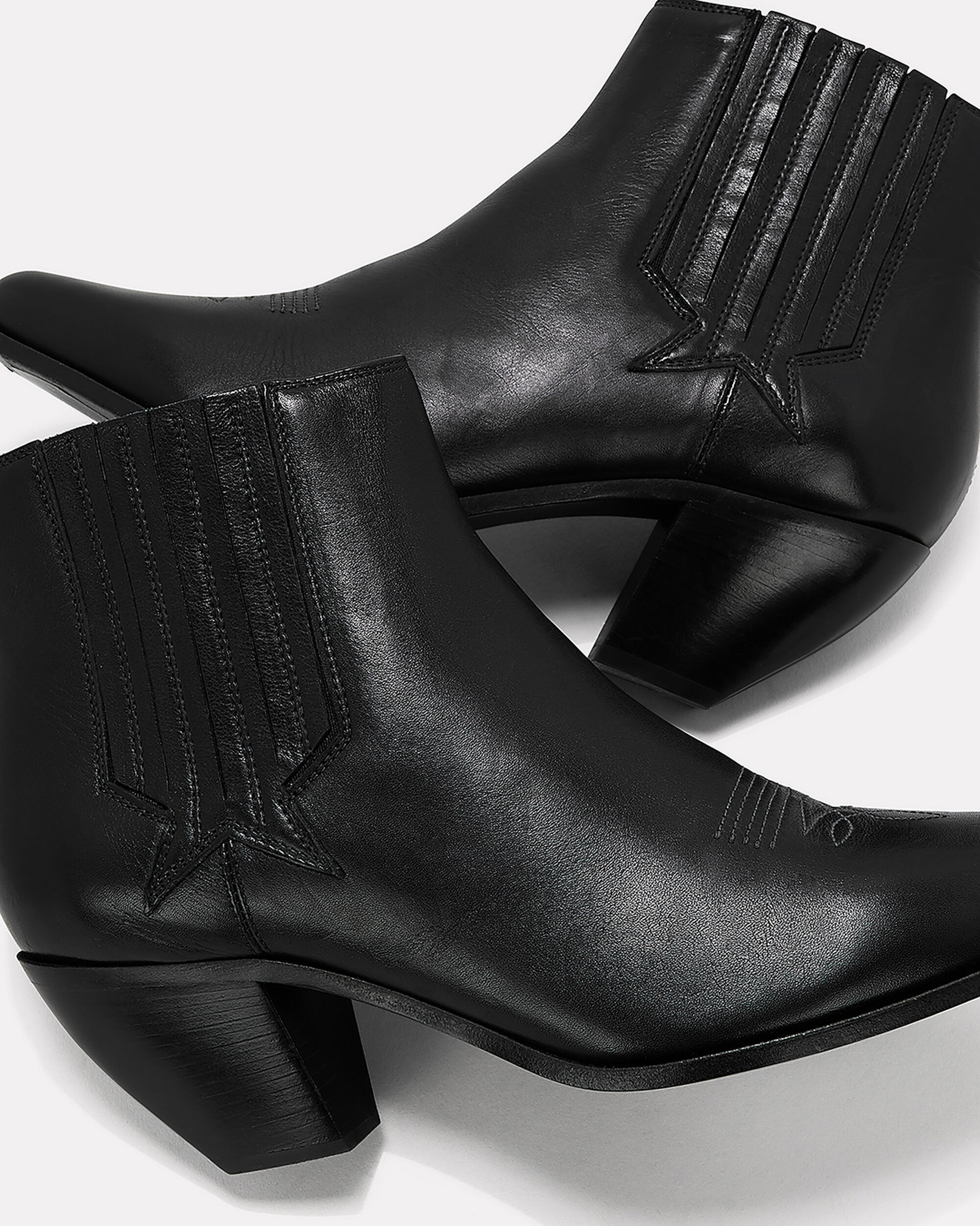 Sunset Leather Booties, BLACK, hi-res