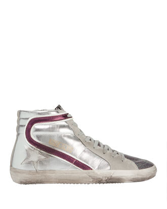 Slide Hi Top Glitter Tongue Leather Sneakers, METALLIC, hi-res