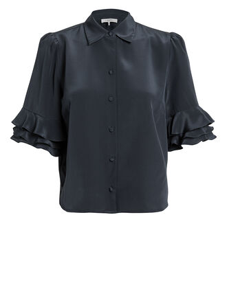Ruffled Sleeve Silk Blouse, NAVY, hi-res