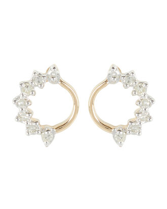 Super Tiny Side Diamond Circle Earrings, GOLD, hi-res