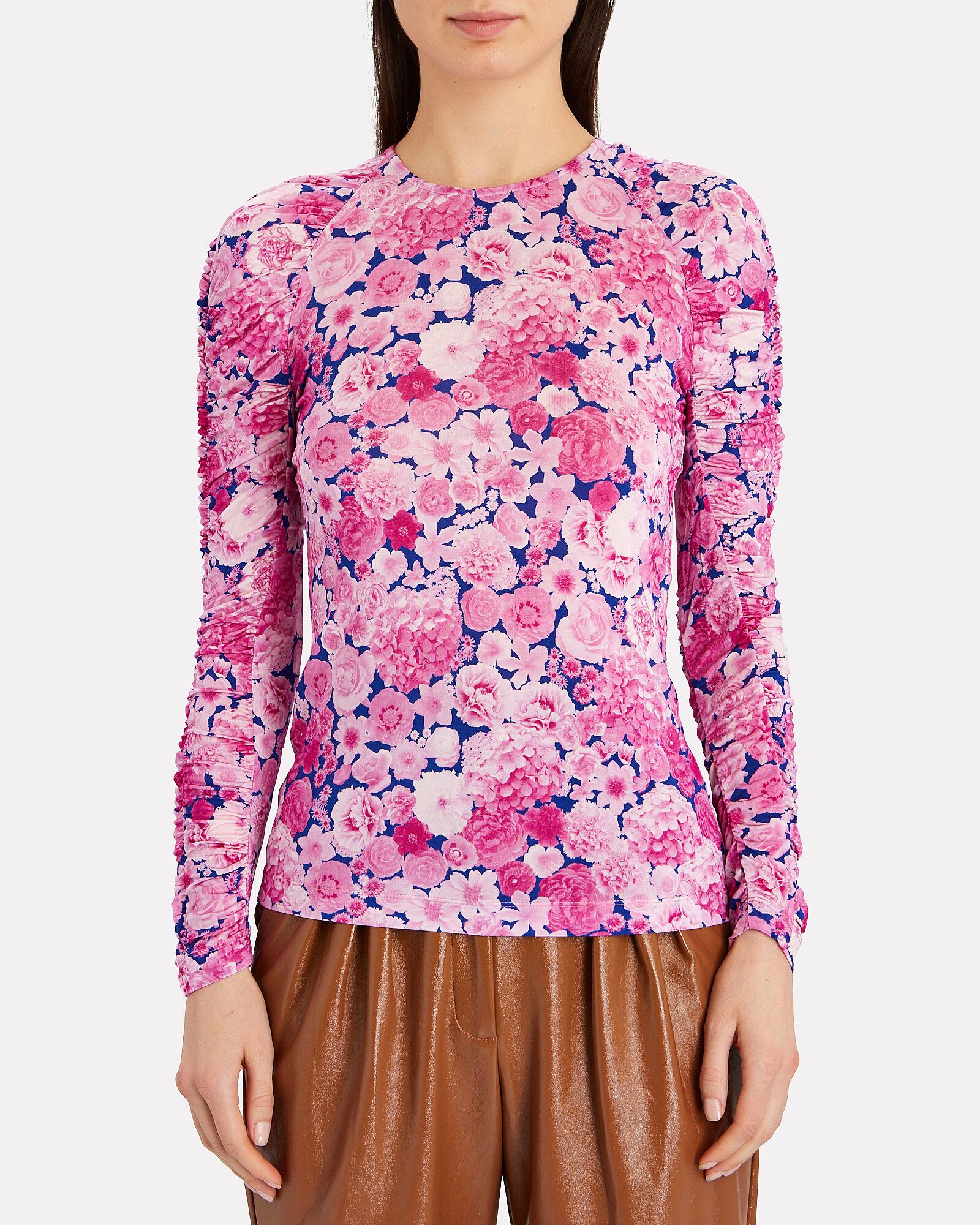 Carlin Ruched Floral Jersey Top, MULTI, hi-res