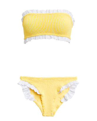 Tracey Yellow Ruffle Bandeau Bikni, YELLOW/WHITE, hi-res